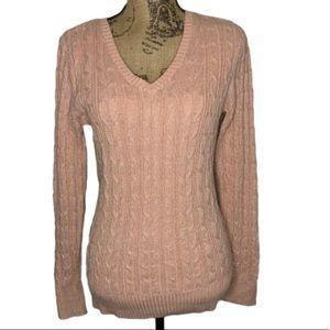 St John's Bay pink shimmer vneck sweater